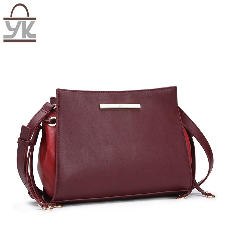 Contrast Color Leisure PU Leather Women Designer Handbags