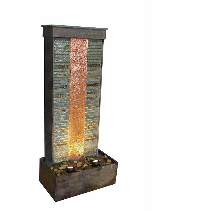 Garden Slate & Real Copper Fountain with LED Spot Light