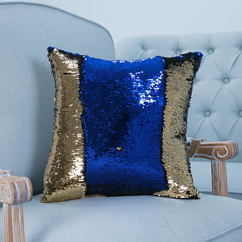 Full-Scale Sequin Embroidery Decorative Cushion/Pillow with Stripe Pattern (MX-01)