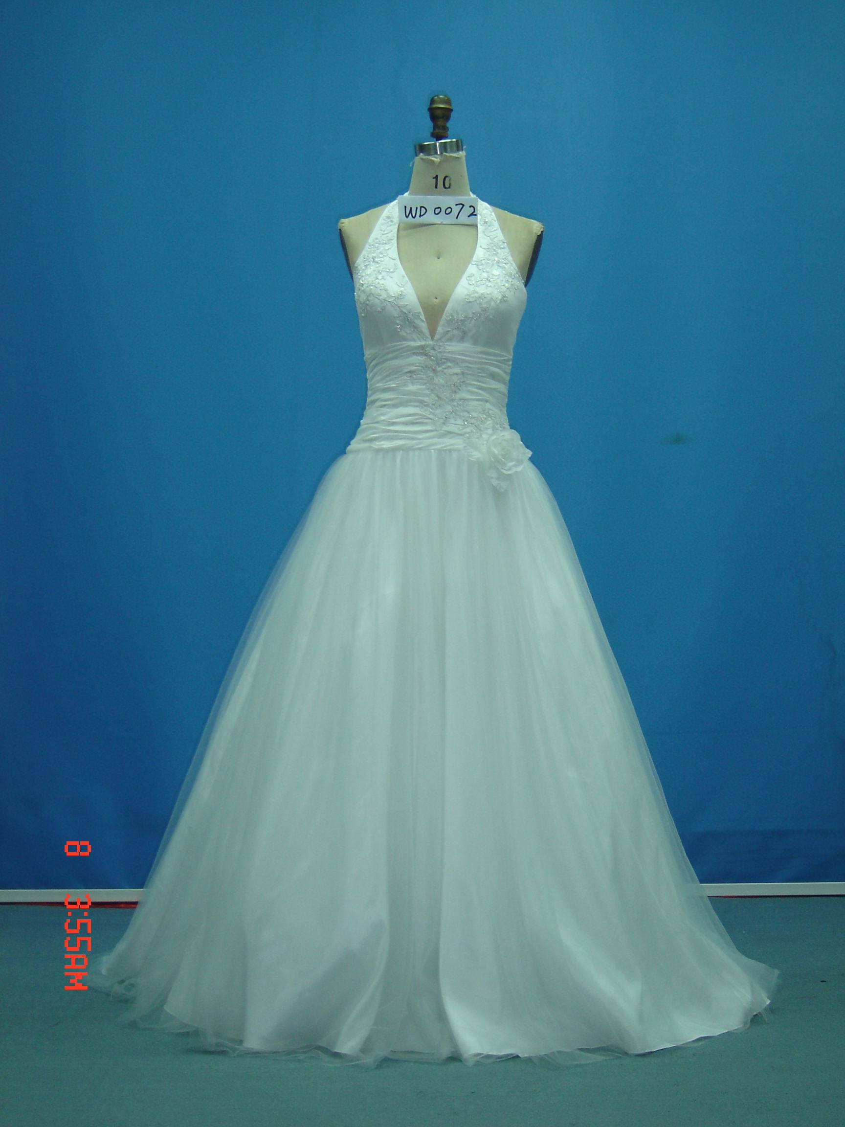 Real Sample Beaded Halter with Flower Wedding Dresses (WD0072)
