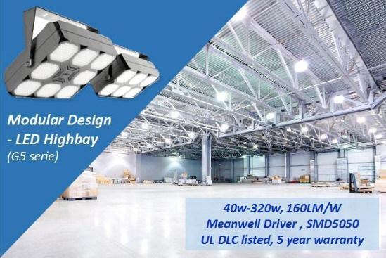 UL Dlc LED Modular Highbay, 40-320W, 0-10V Dimmable