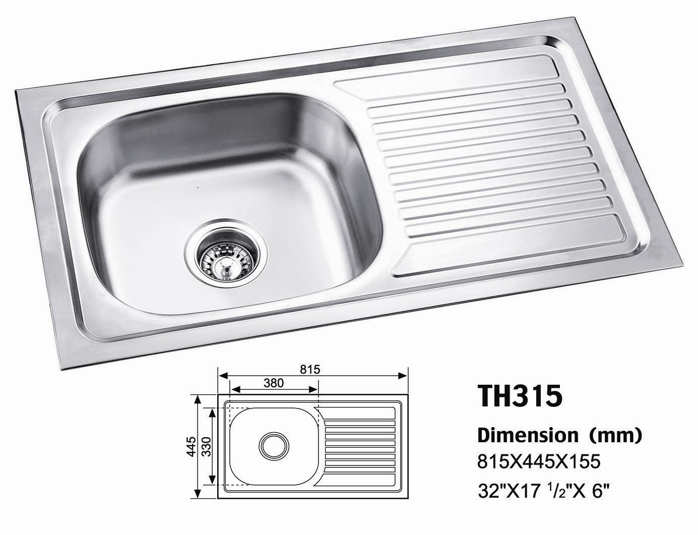 Kitchen Stainless Steel Sinks : China Stainless Steel Sink (TH315) - China Kitchen Sinks, Sinks