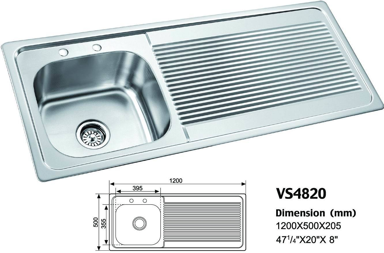 Stainless Steel Sink Dimensions : Stainless Steel Kitchen Sink (VS4820) - China Stainless Steel Sink ...