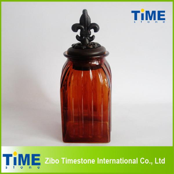Hot Sale Red Color Glass Storage Jar