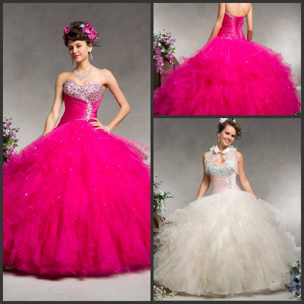 New Jeweled Quinceanera Dress Ruffles Fuchsia Ivory Tulle Sweetheart Bridal Ball Gown Bg0108
