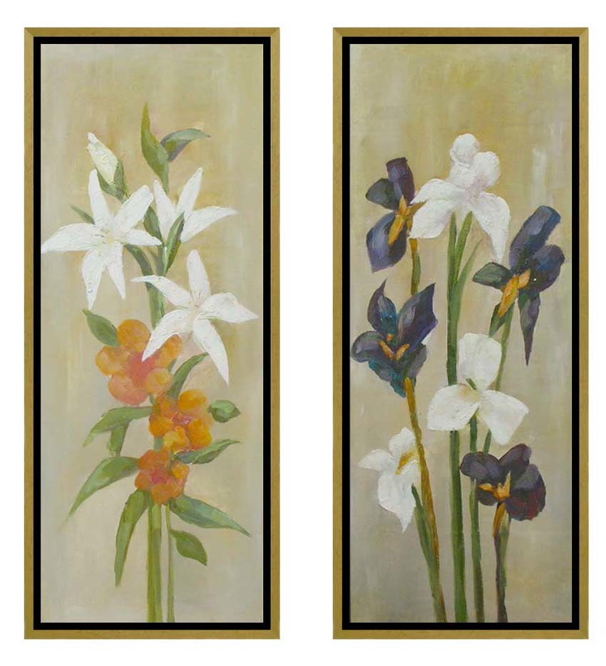 Hand brush stroke oil painting framed art set of 2 panels
