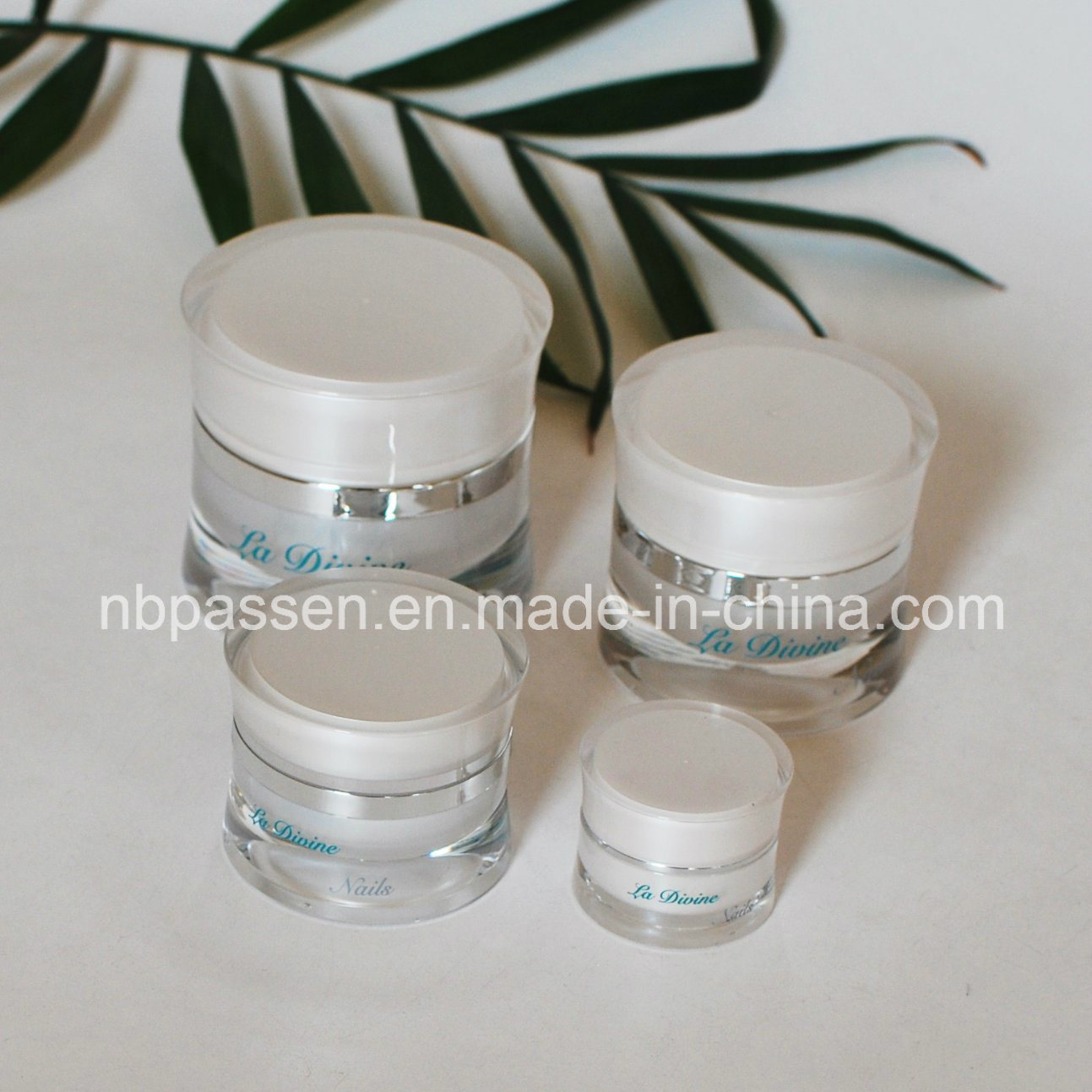 New 5/15/30/50g Pearl White Acrylic Waist Cream Jar for Cosmetics (PPC-NEW-113)