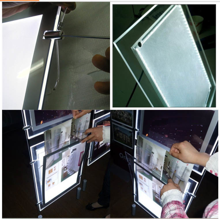 Ceiling Hanging LED Advertising Light Box with Crystal Photo Frame and Etching Logo