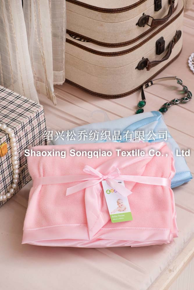Plain Polyester Fleece Baby Blanket with Ribbon
