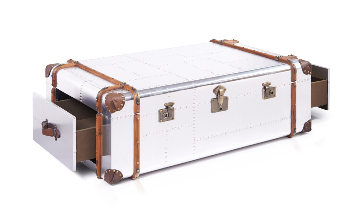 Richard Trunk Aviator Aluminum Coffee Table with Drawers, Hotel Furniture Rtk-71