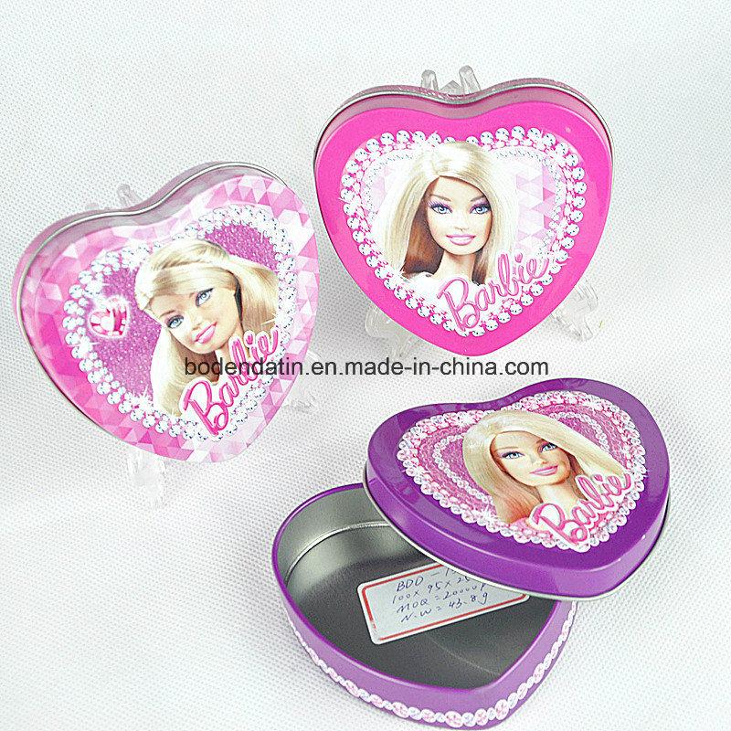 Custom Metal Tin Box for Gift with Heart Shape