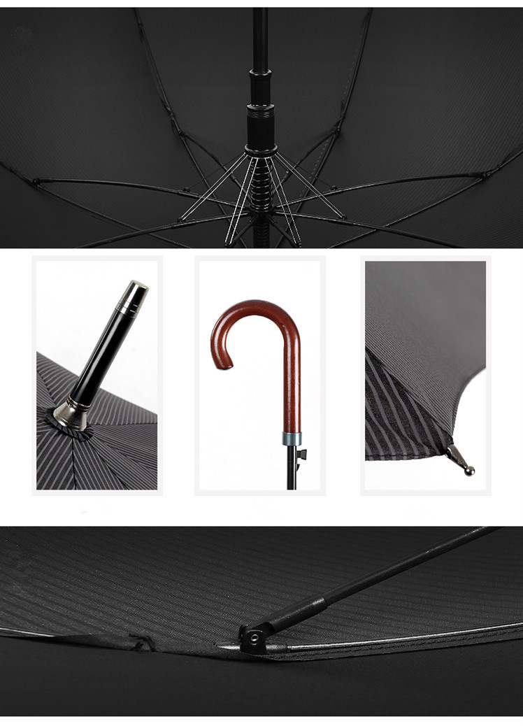 Wood Bending Hook Super Long Handle Automatic Umbrella Business Men′s Straight Bar Anti Riot Umbrella