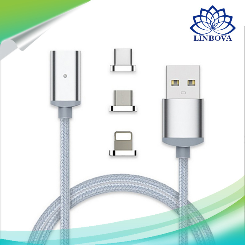 3 in 1 USB Metal Magnetic Data Cable with Micro USB Cable & Lighting Cable & Type C for Android iPhone7/6s/6 Samsung Sony Xiaomi