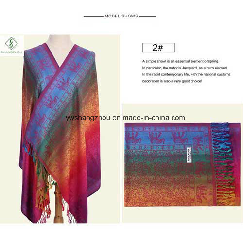 Nepal Style Fashion Color All-Match Jacquard Scarf Long Pashmina Shawl