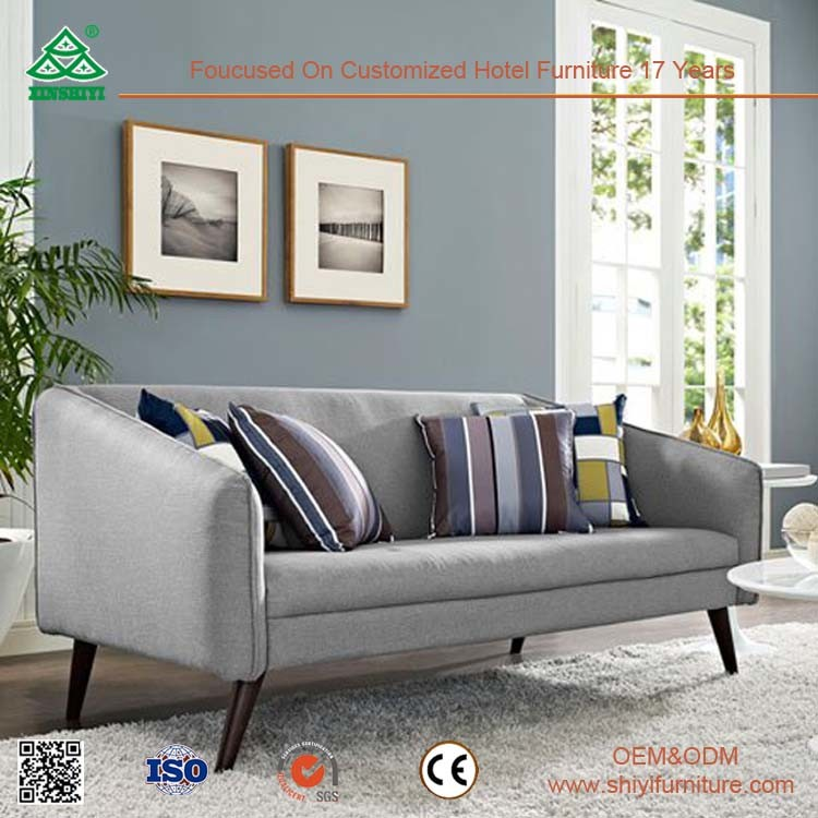 Simple Nice Comfortable Leather Sofa Set for Living Room, Ergonomic Design Wooden Sofa Set Design