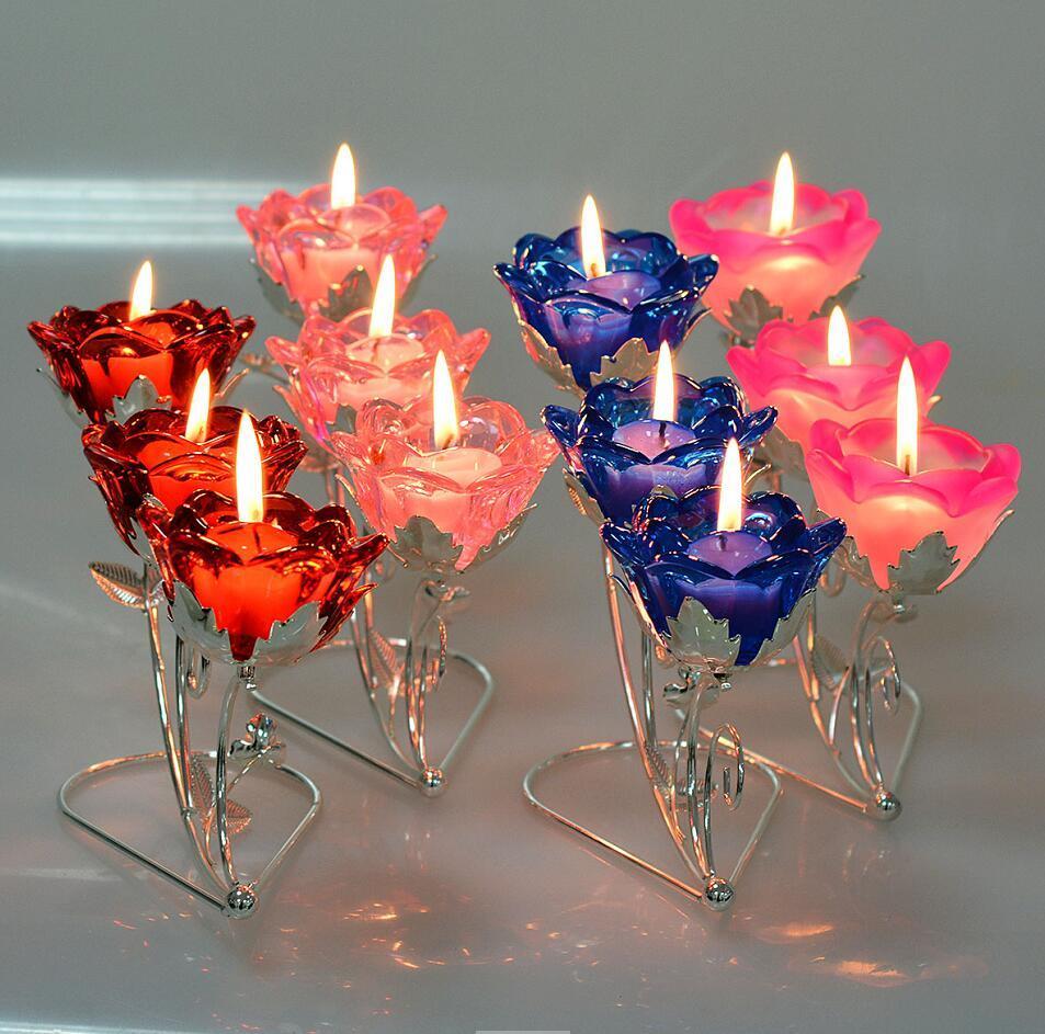 3 Branch Rose Crystal Candle Holder for Wedding