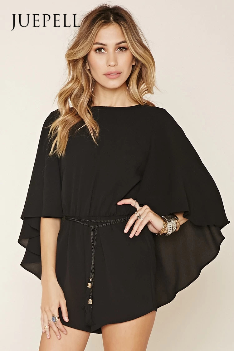 2016 Fashion Hot Sale Drawstring Cape Dress