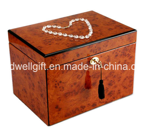New Luxury High Gloss Piano Finish Wooden Jewellery Box