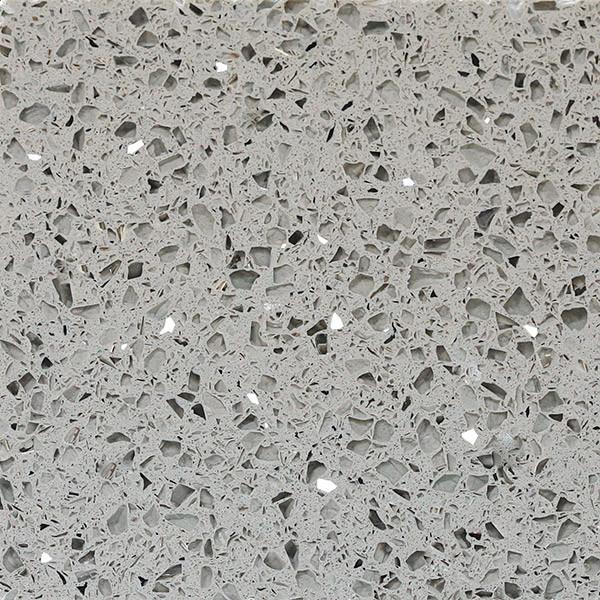 Stella White / Grey Mirror Fleck Artificial Quartz Polished Stone Slab