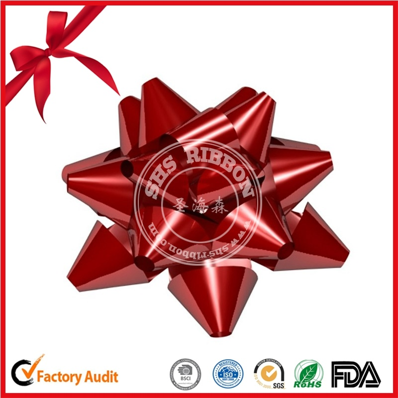 Red Lacquer Ribbon Star Bow for Wedding Car Decoration