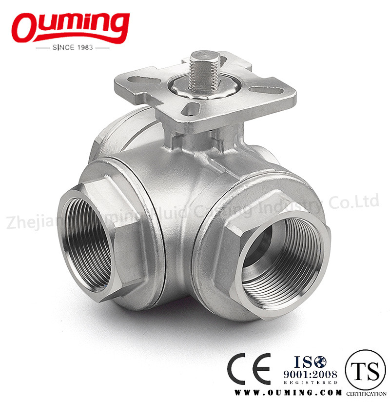 Three Way Threaded End Ball Valve with Mounting Pad