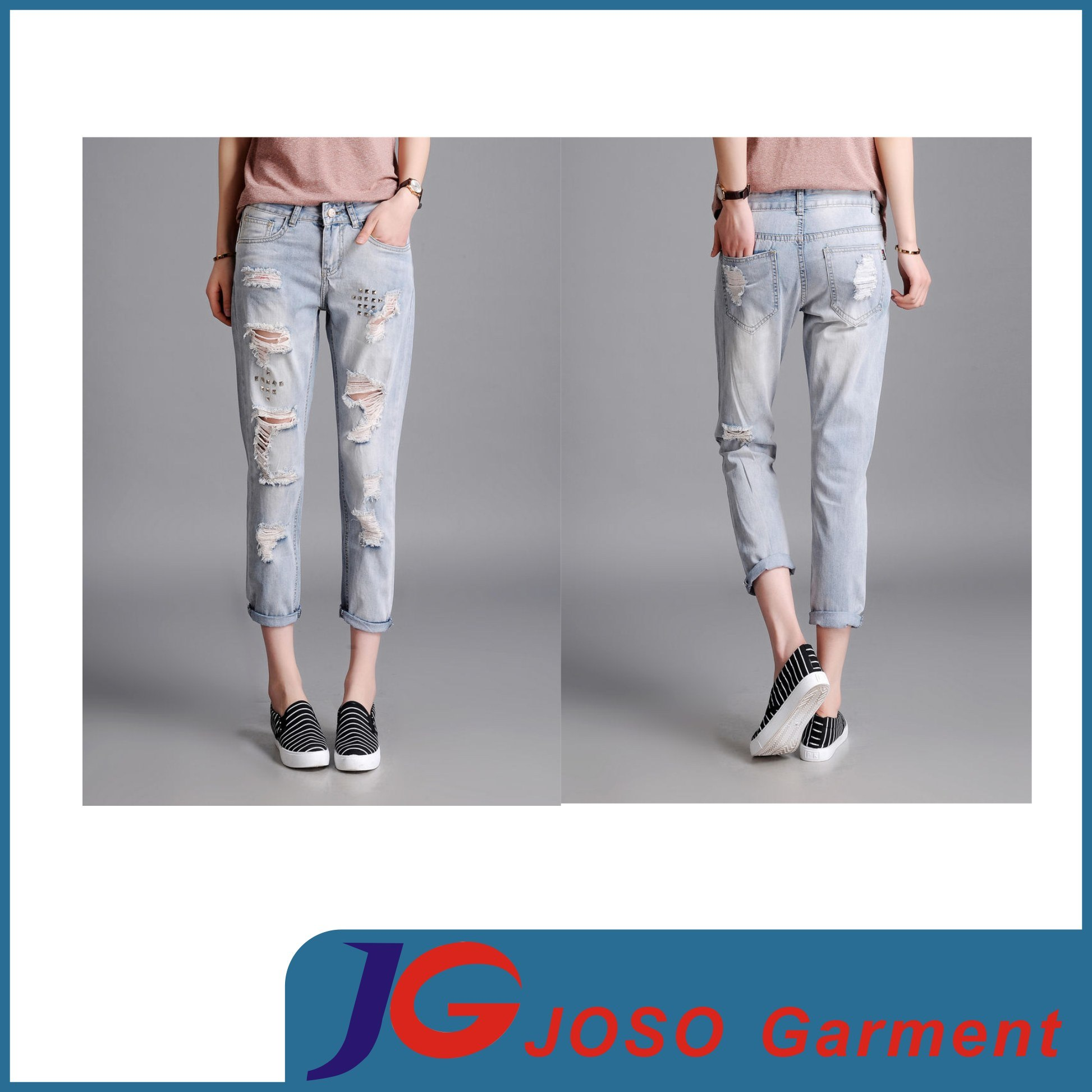 Destroyed Skinny Broken Jeans Wide Trousers Ladies Garment (JC1388)