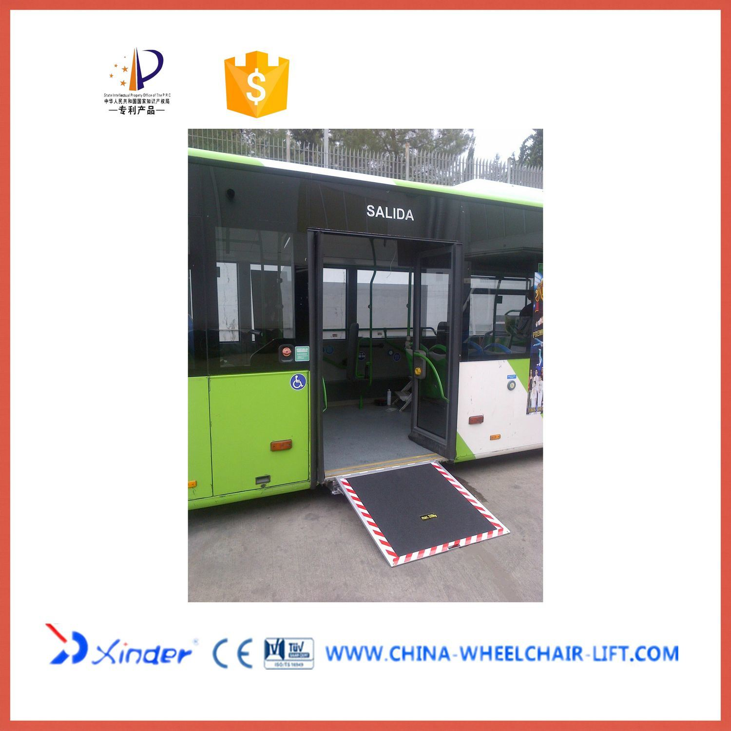 Disabled Electric Aluminum Wheelchair Ramp for Low Floor Bus with 350kg Loading (EWR)