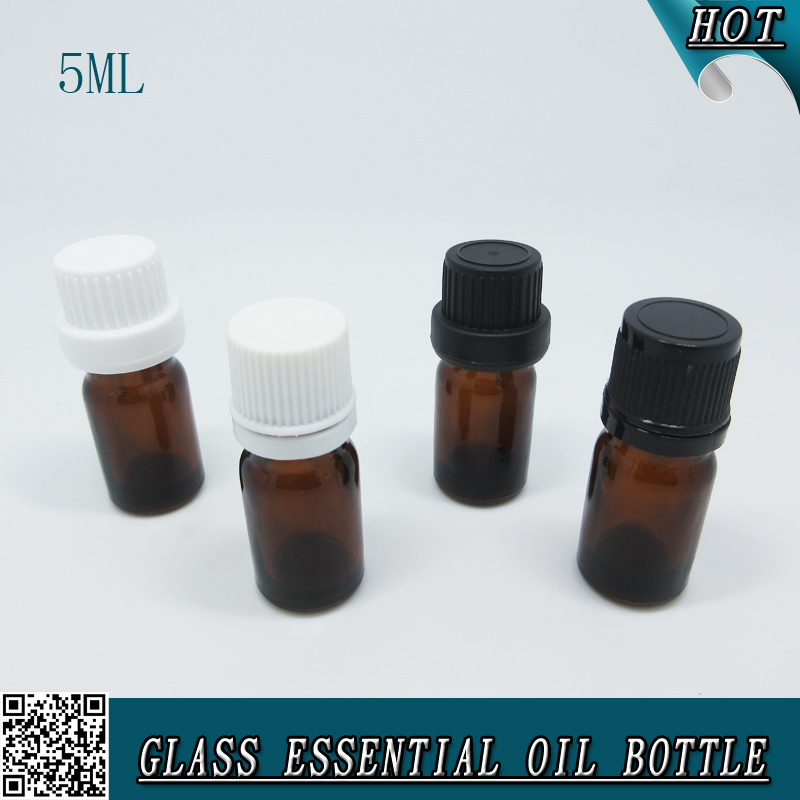 5ml Mini Cylinder Amber Glass Dropper Essential Oil Bottle