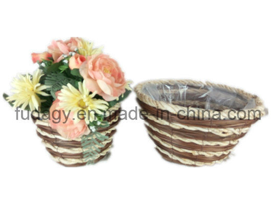 Round Straw Garden Flower Pot with Liner