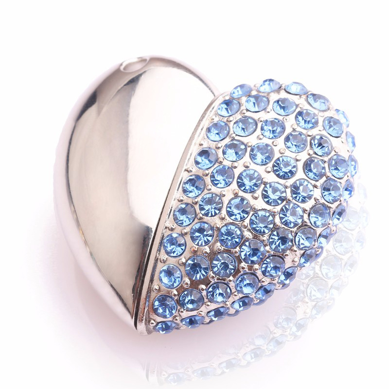 U Disk Mega Fabrica Crystal Heart Love Pendrive 2g 4G 8g 16g 32g 64G Pen Drive Jewelry USB Flash Drive