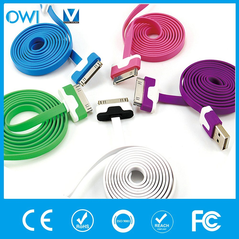 Charger&Transfer Data Colorful Flat USB Cable for iPhone4/4s