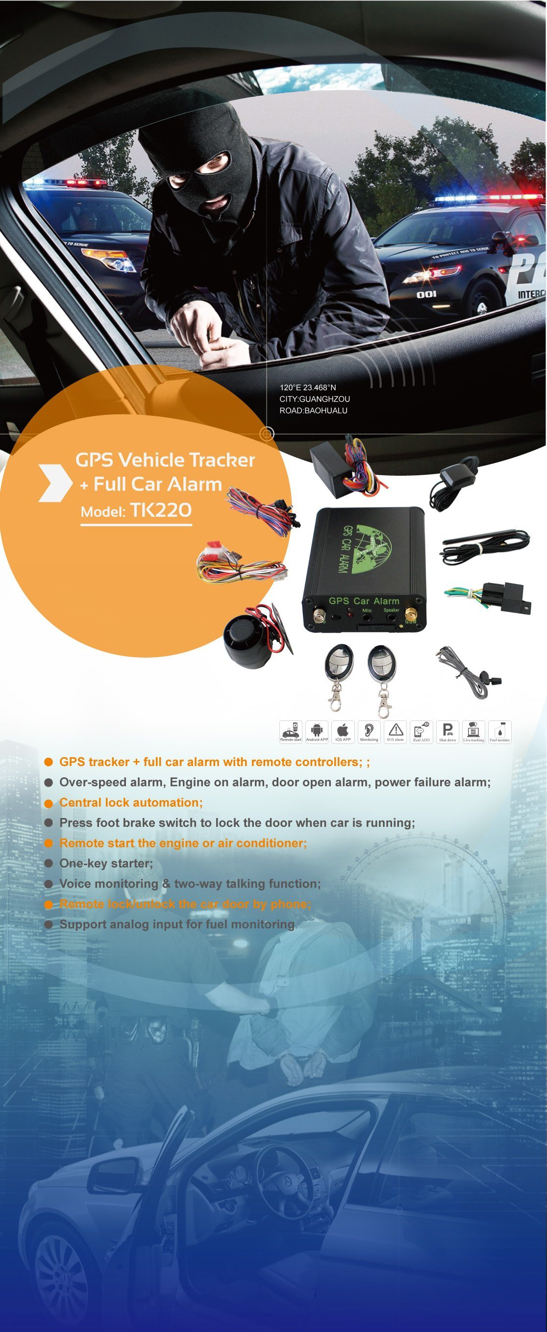 GPS Car Alarm with 3G Mobile APP Tracking System Tracking Location Car Alarm Tk208-J