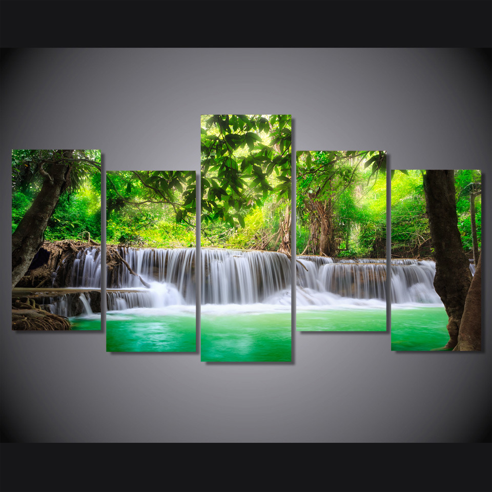 HD Printed Green Tropical Waterfall Painting Canvas Print Room Decor Print Poster Picture Canvas Mc-033