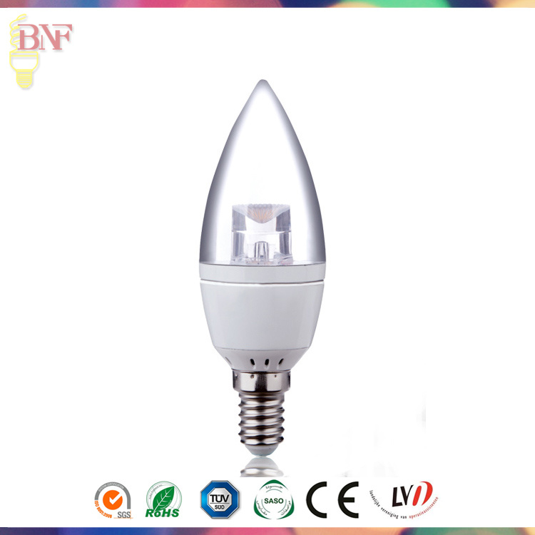 C7 New LED Tail Flameless Glass Candle Light Bulb 1W 2W 3W 4W for Energy Saving