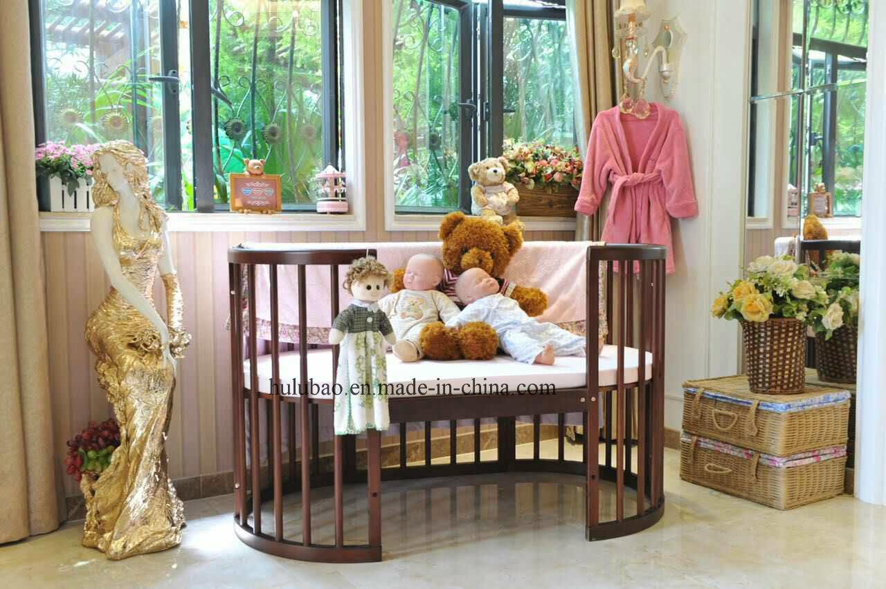 Children Furniture Baby Furniture Wooden Convertible Crib Round Cot