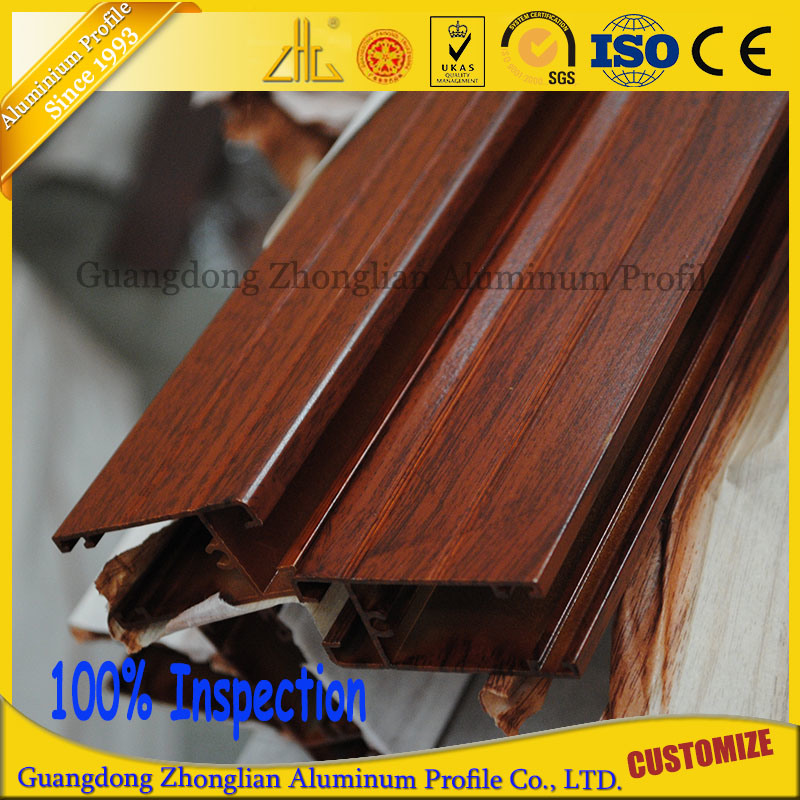 China Manufacturer Wood Grain Aluminium Extrusion Profile