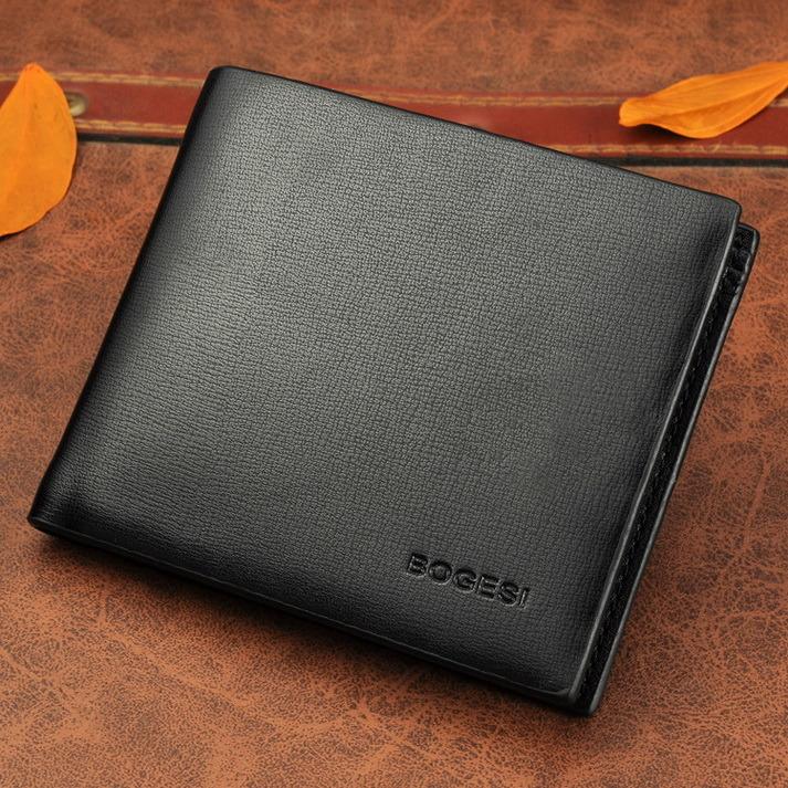 Classic Korean Pure Plain Thin Short Wallet Burgos Genuine Man Purse Wallet Wallet