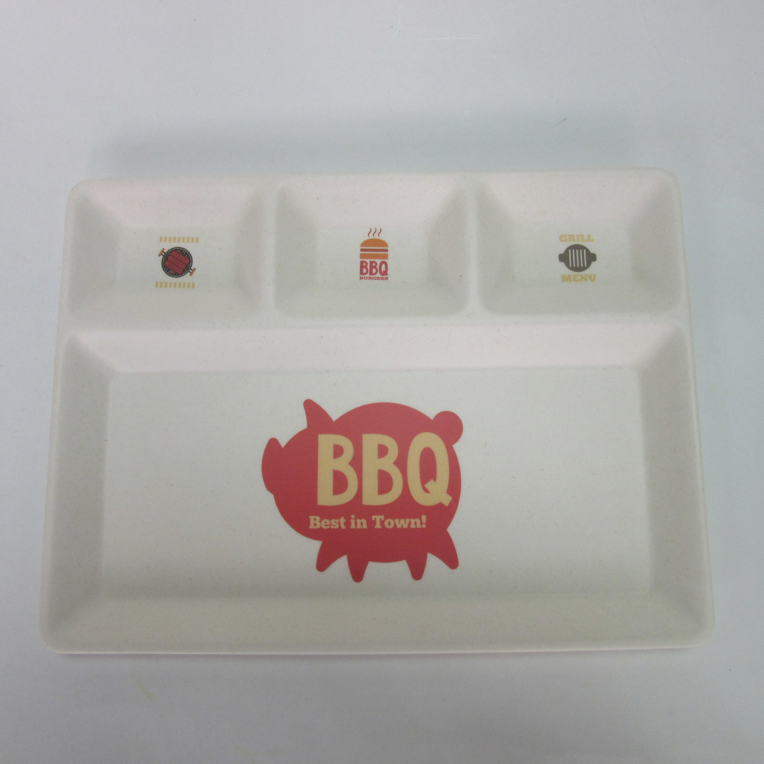 Bamboo Fiber BBQ 4 Divide Plate Small