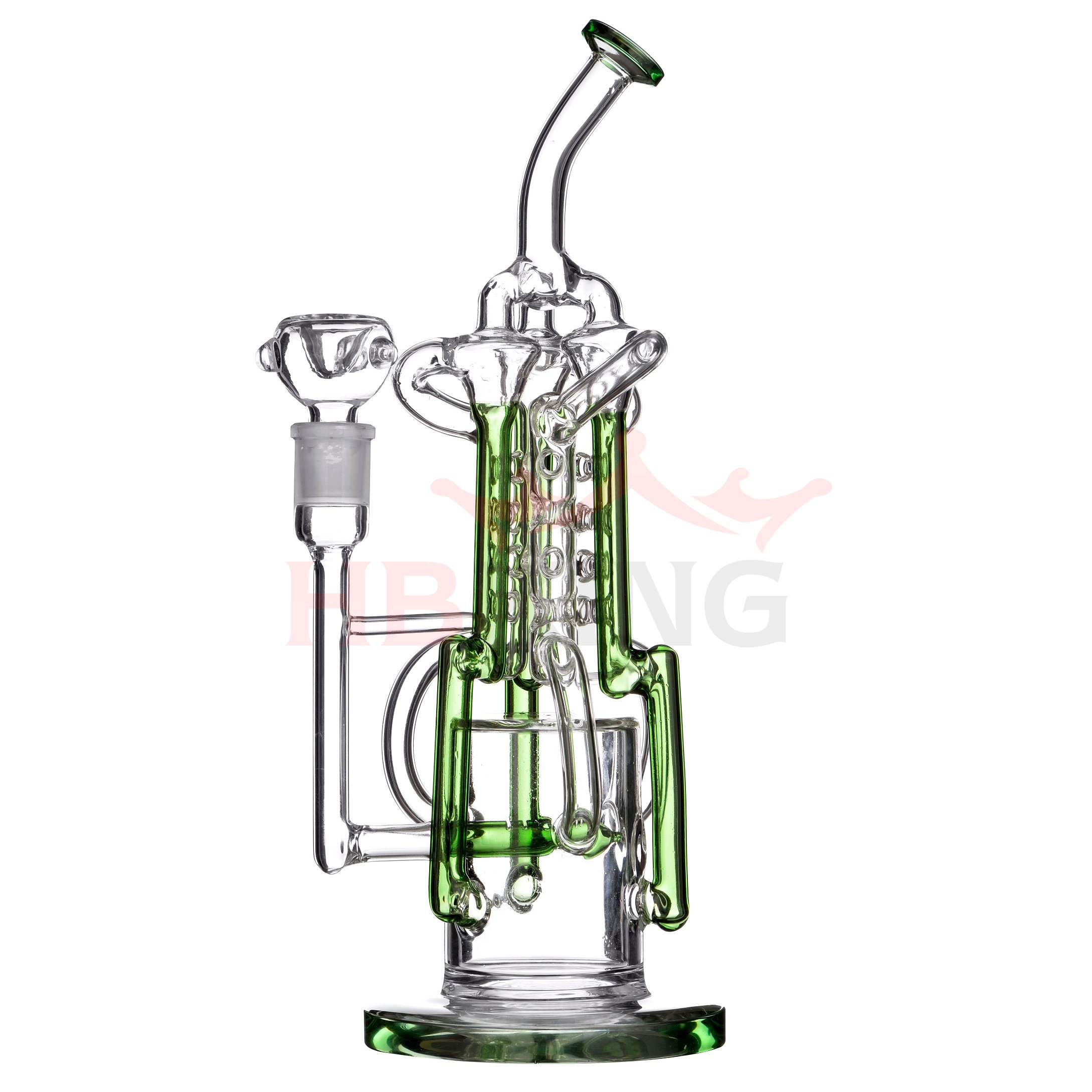 Hb-K183 Detached 2 Parts Spiral Coil Percolator Swiss Biscuit Shape Glass Smoking Water Pipe