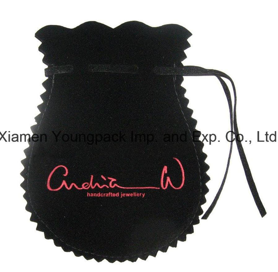 Fashion Promotional Custom Black Small Drawstring Velvet Pouch