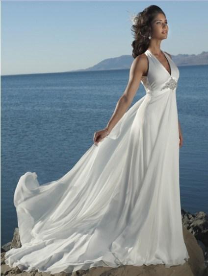 China 2011 classic v neckline empire waist satin beach for Empire waist beach wedding dress