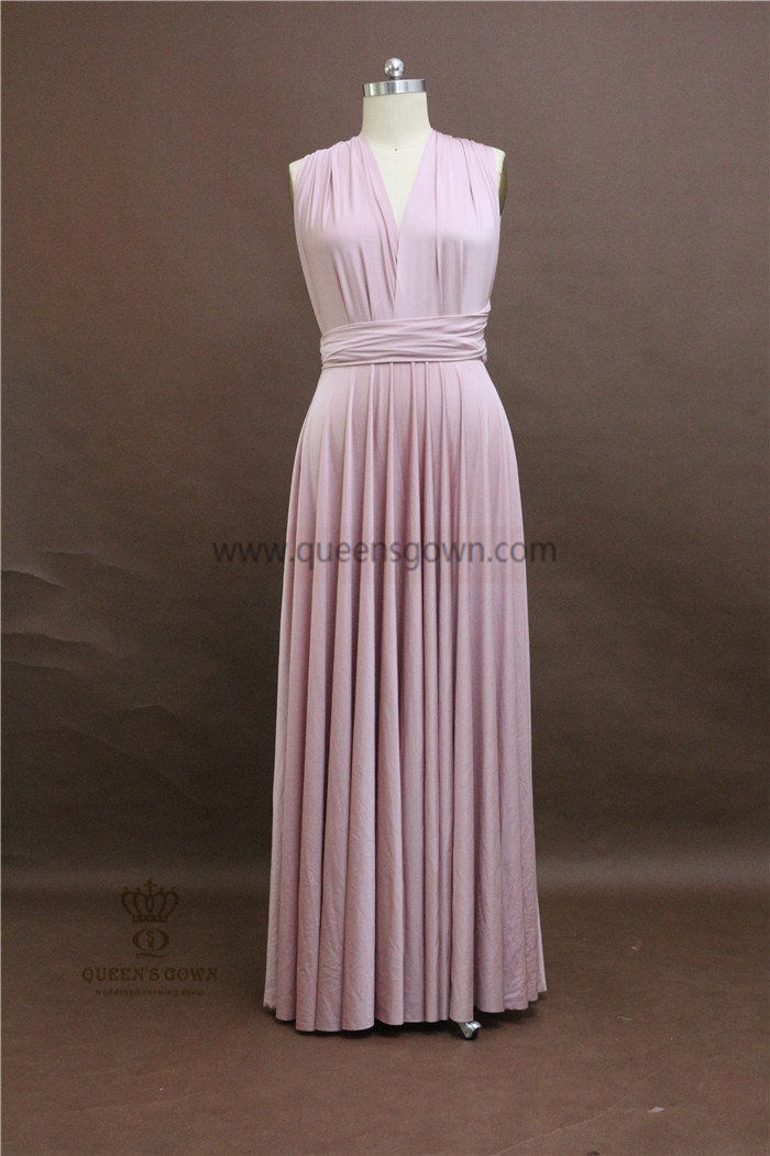 Cheap Elastic Satin Girl Evening Gowns Convertible Pink Bridesmaid Dresses