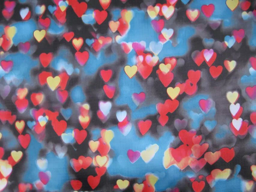 600d High Density Heart Printing Polyester Fabric with PVC/PU