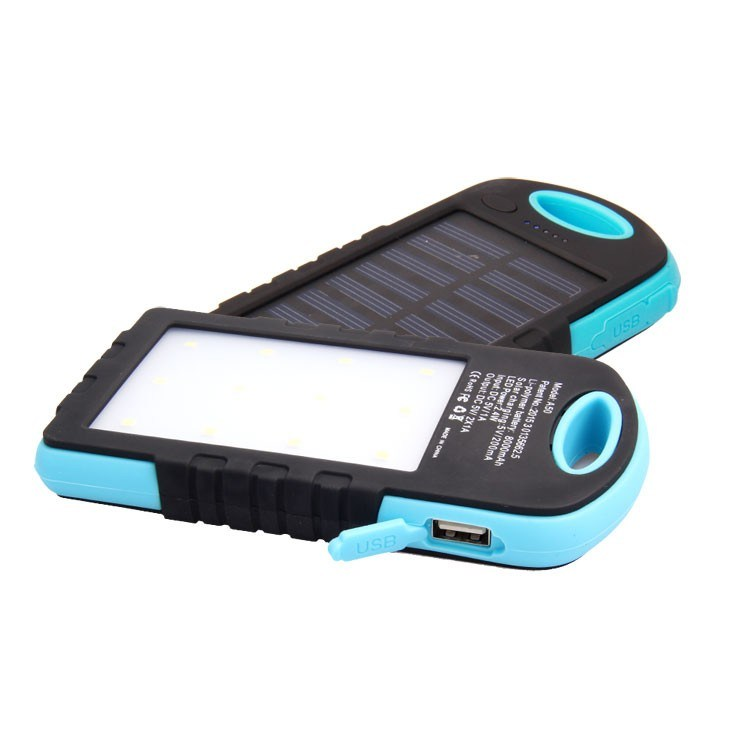 Outdoor Portable Travel Waterproof 5000mAh, 8000mAh, 10000mAh, 12000mAh Mobile Solar Power Bank with LED Lights