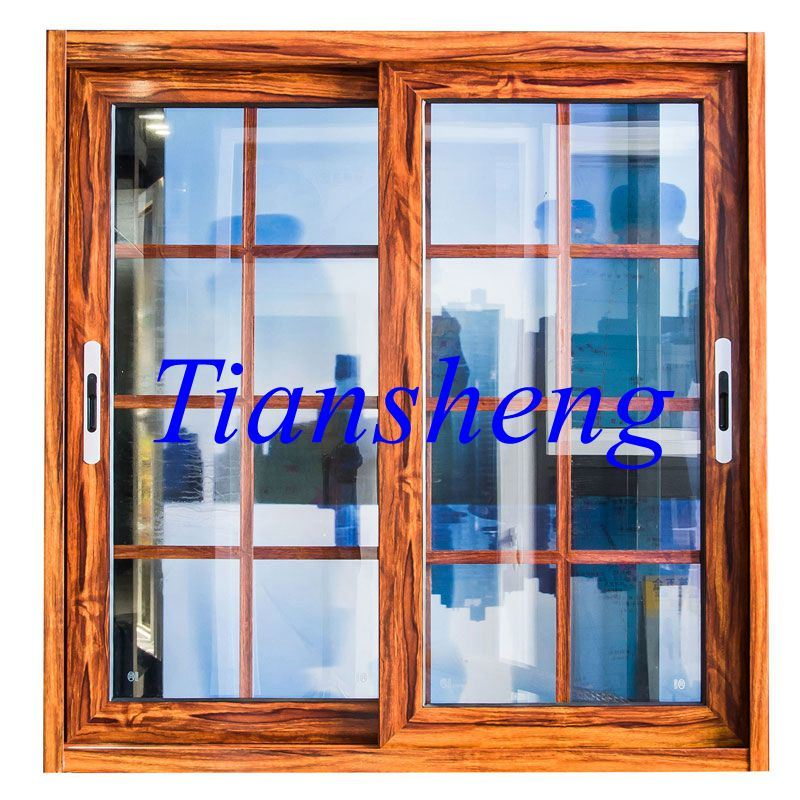Powder Coated Wooden Color Aluminum Windows and Doors with Stainless Steel Mosquito Net