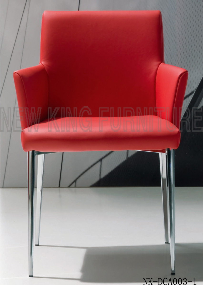 New Fashion Red PU Leather Dining Chair with Armrest (NK-DCA003-1)