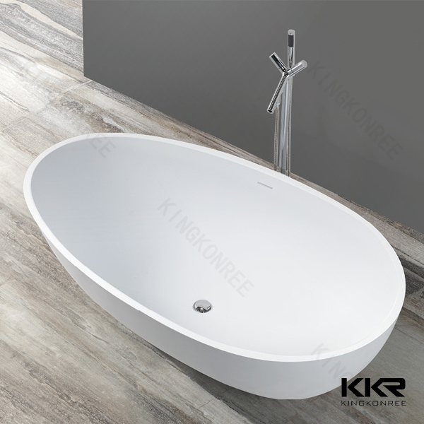 White Solid Surface Sanitary Ware Freestanding Bathtub