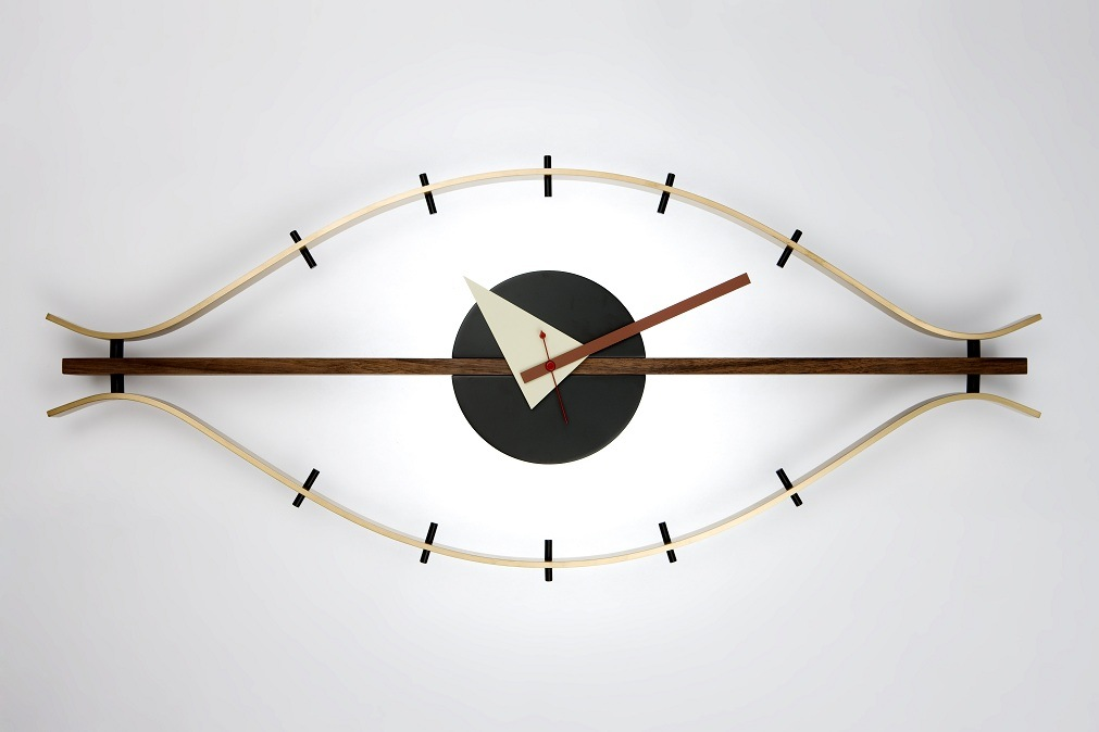 Walnut Brass Aluminum Classic Eye Clock