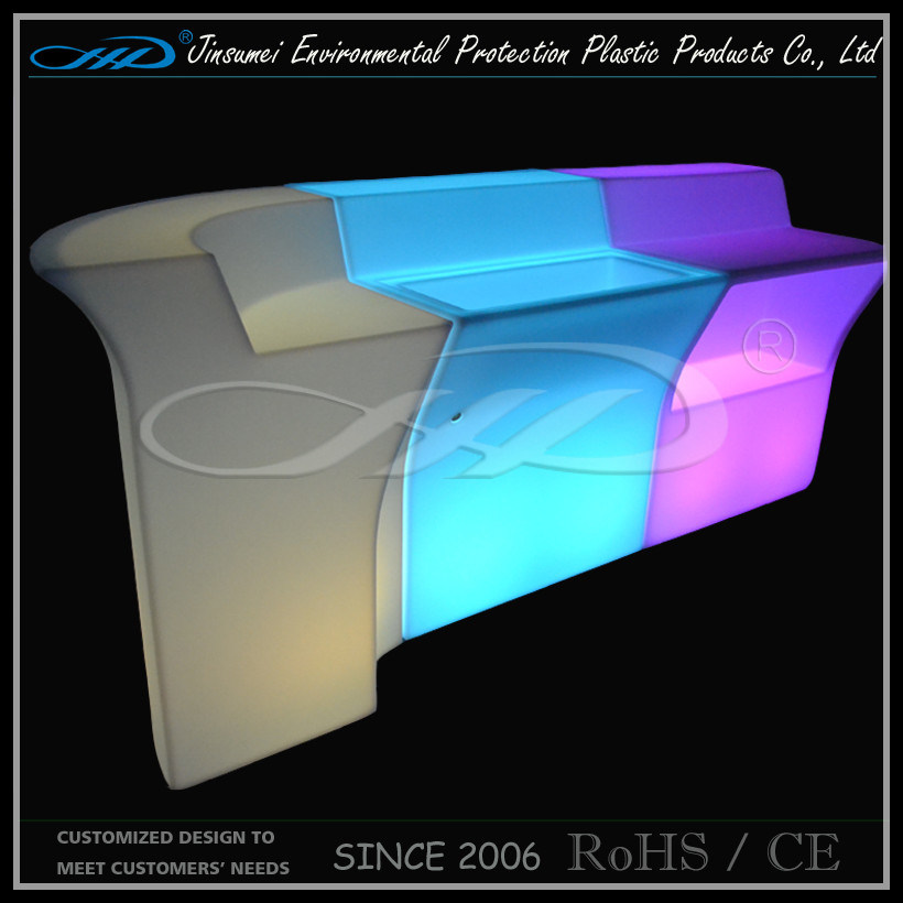 Commercial Illuminated LED Bar Counter Design / LED Hotel Furniture