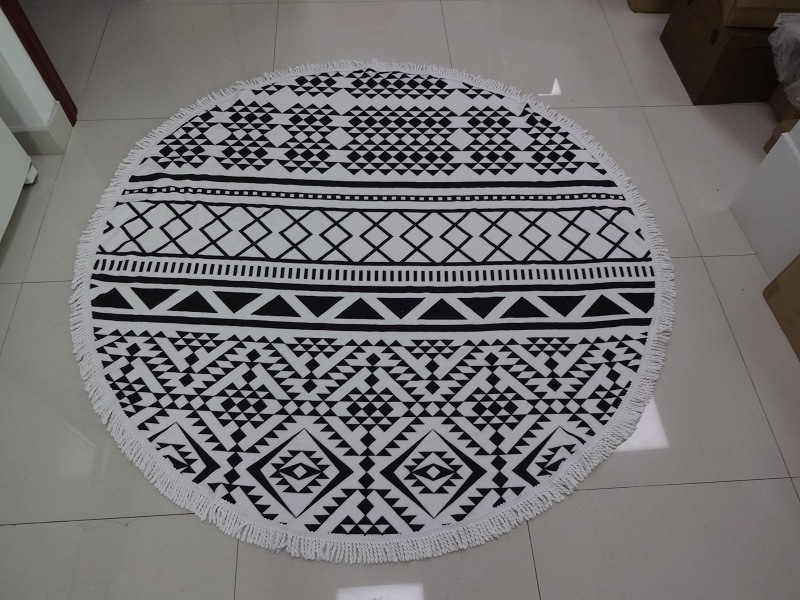 Customized Reactive Printing Cotton Round Beach Towel with Tassels